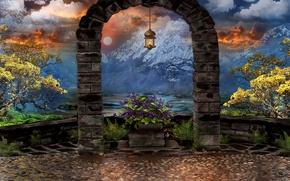Картинка небо, облака, деревья, цветы, горы, арт, фонарь, арка, art