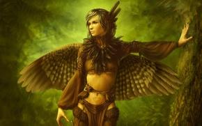 Картинка дерево, перья, девушка, крылья, птица, лес