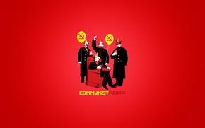 Обои party, карл маркс, сталин, мао цзедун, коммунизм, communist, коммунисты, воздушные шарики, колпак, молот, ленин, кресло, ...