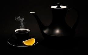 Картинка лимон, чайник, чашка, Black tea