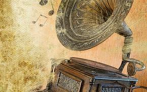Обои Ноты, ретро, развлечений, крышка, рогатые, латунь, записывать, сбор, изолированный, устаревшее, мелодии, возрождение, резьба, мегафон, играть, ...
