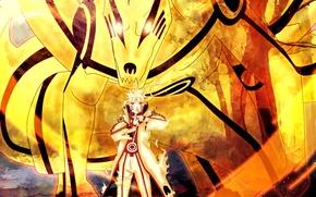 Картинка Naruto, Anime, Flame, Ninja, Uzumaki, Naruto Shippuden, Blonde Hair, Manga, Bijuu Dama, Chakra, Bijuu Mode, ...