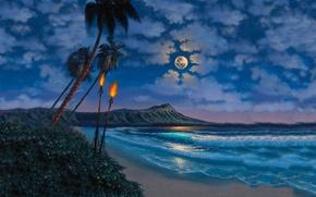 Картинка пляж, небо, облака, пальмы, Океан, Луна, факелы
