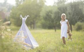 Картинка поле, лето, игрушка, девочка