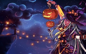 Картинка небо, девушка, облака, ночь, мост, дерево, праздник, шляпа, аниме, арт, фонари, тыква, ведьма, halloween, mioda …