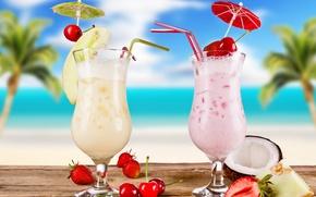 Обои glasses, food, fruits, cocktail, коктейль, strawberries, cherries, cocktails, summer, melon, лето, coconut