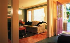 Картинка кошка, диван, Гостиная, торшер