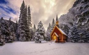 Картинка зима, лес, снег, природа, церковь