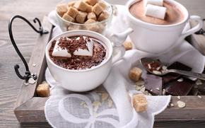 Обои cup, chocolate, hot, шоколад, какао, marshmallow, cocoa, зефир