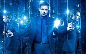 Обои галстук, отражение, Now You See Me 2, синева, пиджак, Марк Руффало, зеркала, Mark Ruffalo, Иллюзия ...