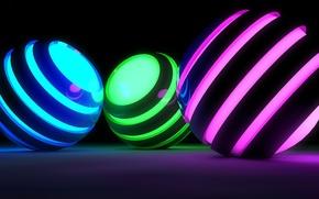 Картинка цвета, поверхность, полоски, отражение, сияние, рендеринг, фон, графика, шар, свечение, кольца, подсветка, сфера, силуэты, очертания, …