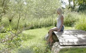Картинка зелень, лето, трава, девушка, природа, юбка, майка, блондинка, мостик, очарование, anneli
