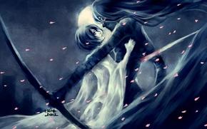 Картинка девушка, ночь, луна, лепестки, арт, парень, bleach, kurosaki ichigo, kuchiki rukia, nanfe