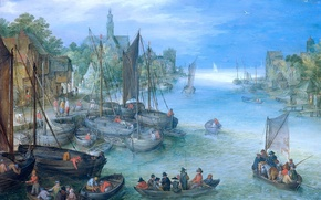 Картинка картина, лодки, Речной Пейзаж, Ян Брейгель старший