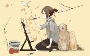 Обои кошка, бабочки, птицы, книги, собака, девочка, кисть, рисует, мольберт