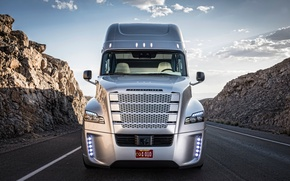 Картинка трасса, вид спереди, Truck, Freightliner, Daimler, Inspiration
