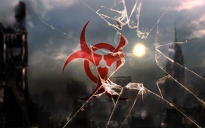 Обои солнце, Стекло, Bio-Hazard, био-оружие