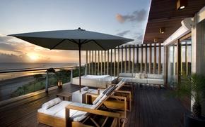 Картинка закат, стиль, берег, вид, relax, архитектура, beach, роскошь, крыльцо, sunset, красивый, beautiful, luxury, wiev