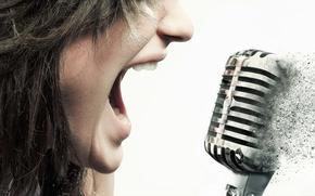 Картинка девушка, музыка, микрофон