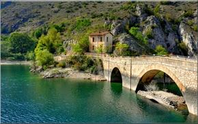 Картинка горы, мост, озеро, дом, Италия, Виллалаго