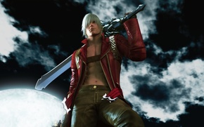 Картинка sword, ночь, меч, Dante, DMC, moonlight, hill, night, облака, Данте, clouds, game wallpapers, демон, demon, …