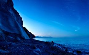 Картинка небо, закат, горы, планета, спутник, панорама