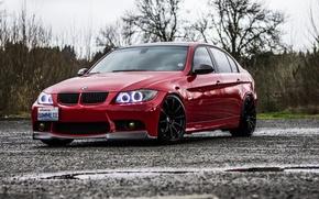 Картинка Красная, BMW, БМВ, Red, Car, E90, Chrome, Хромированная