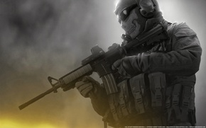 Обои call of duty, Modern Warfare 2, Призрак, Ghost, М16, балаклава, солдат, череп, очки, разгрузка, автомат