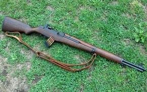 Картинка трава, фон, винтовка, обойма, самозарядная, M1 Garand