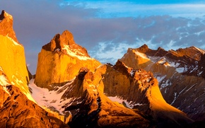 Картинка небо, облака, закат, горы, вершины, панорама, Чили