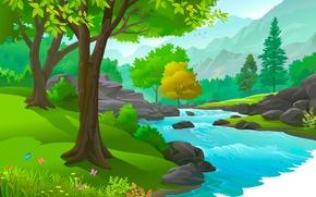 Обои деревья, вода, река