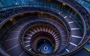 Обои Ватикан, спираль, Рим, Италия, лестница, Музеи Ватикана