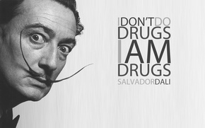 Картинка глаза, текст, лицо, фон, надпись, обои, ситуация, черно-белое, Мужчина, слова, забавно, Сальвадора Дали