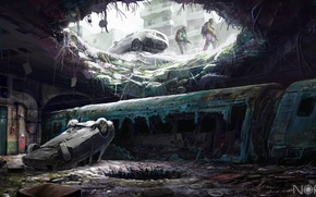 Картинка оружие, холод, арт, дыра, зима, лед, люди, подземка, sci-fi