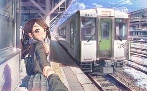 Картинка небо, девушка, облака, улыбка, поезд, рука, аниме, шарф, арт, вагон, форма, школьница, daito