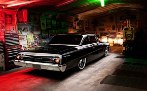 Обои chevrolet, bel air, 1962, black, tuning, retro, garage, light, rear