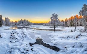 Обои Oulu, река, Оулу, Финляндия, Koitelinkoski, Finland, деревья, зима, снег, Kiiminkijoki River