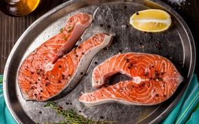 Картинка лимон, рыба, специи, стейк, семга