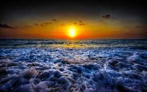 Картинка море, волны, пляж, восход, горизонт, оранжевое небо