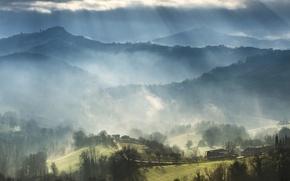 Картинка облака, лучи, горы, дом, холмы, поля, Италия