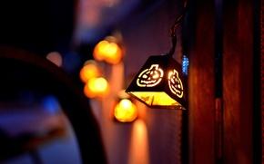 Картинка светильник Джека, боке, Halloween, улица, размытость, ночь, фонарь