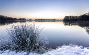 Картинка зима, снег, озеро