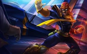 Обои герой, костюм, шлем, art, Nintendo, Captain Falcon, F-Zero