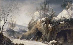 Обои картина, скалы, Зимний Пейзаж с Крестьянской Семьёй, Франческо Фоски, дорога