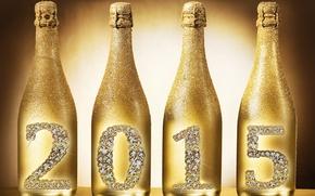 Картинка Новый Год, бутылки, golden, шампанское, New Year, Happy, champagne, 2015