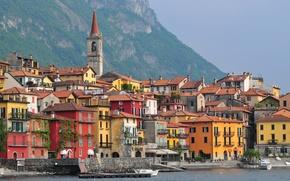 Картинка море, горы, лодка, дома, Италия, Ломбардия, Варенна