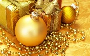 Картинка украшения, Новый Год, Рождество, gold, Christmas, золотые, decoration, Merry