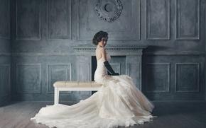 Картинка комната, Азиатка, сидит, белое платье