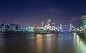Картинка ночь, Лондон, корабли