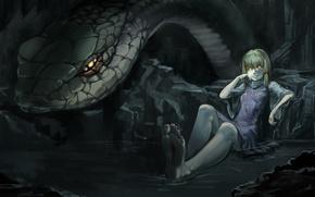 Картинка вода, девушка, кровь, змея, змей, пещера, touhou, горящие глаза, moriya suwako